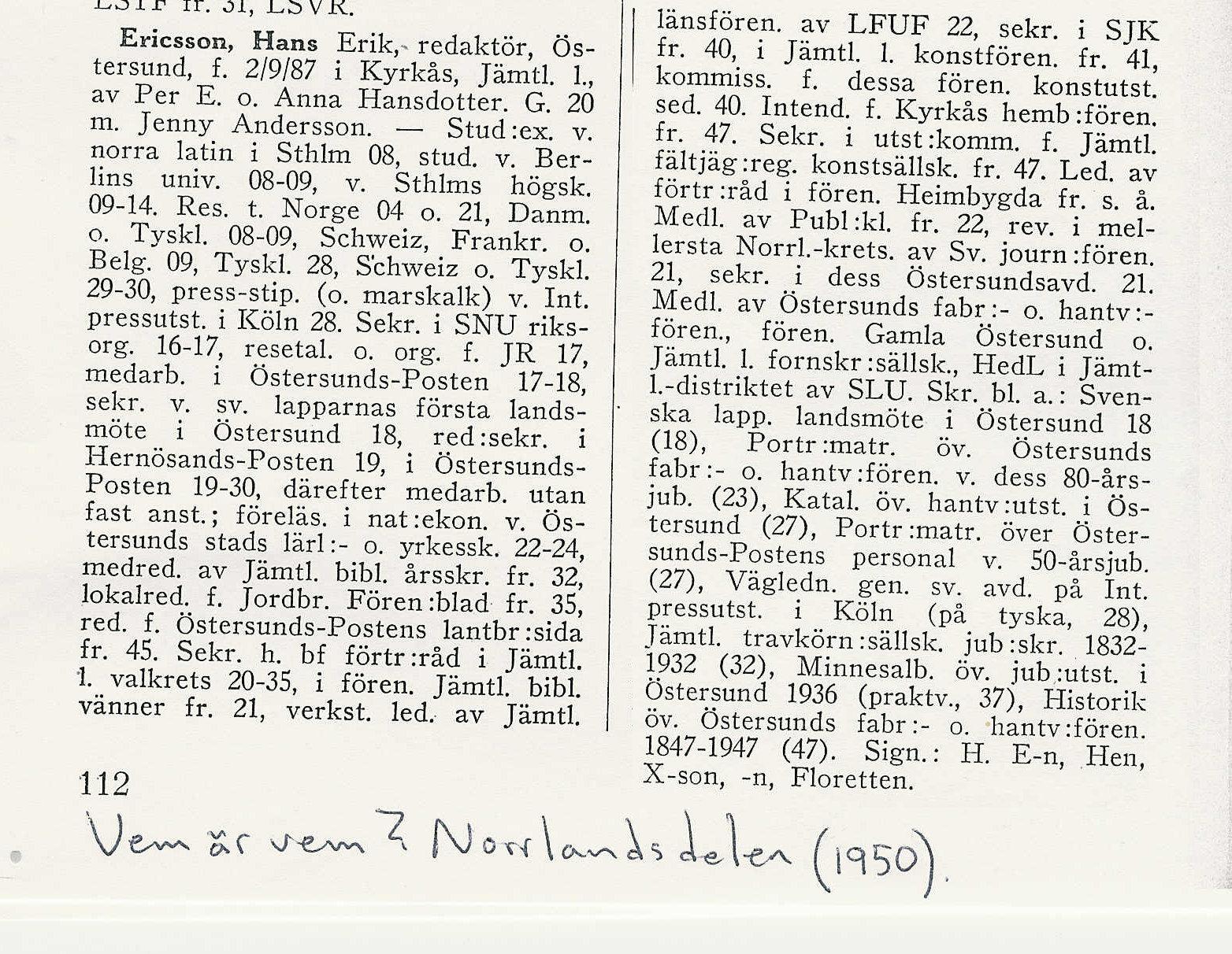 Hans Ericssons biografi - Vem är vem 1950