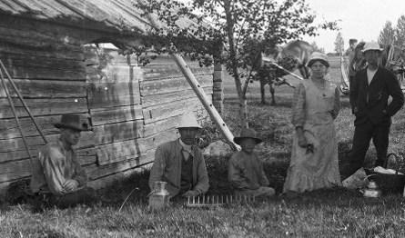 Slåtter vid Björklig 1905
