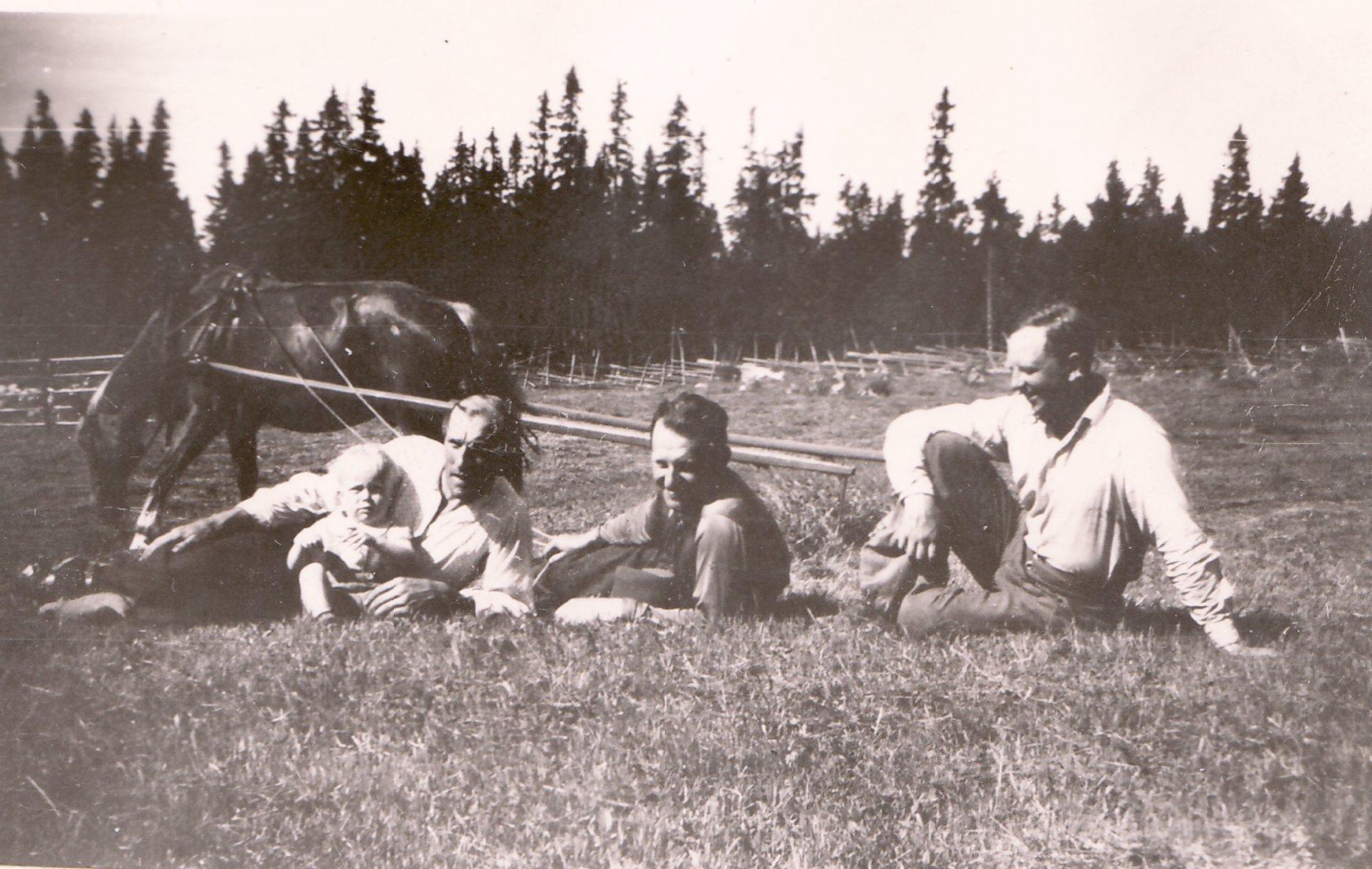 Slåtter 1943, Rölle, Nisse, Jan, morbror Erik och okänd
