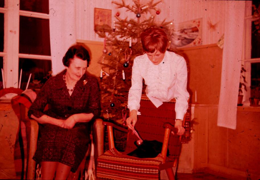 Karin och Inger i köket 1964